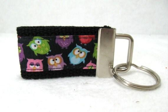 Mini Owl Key Fob - BLACK - Owls Small Key Ring - Owl Key Chain - Owls Zipper Pull - Small Key Ring