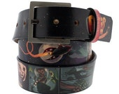 Dogs in Space Leather Belt for Men and Women, Unisex Belt, Dog Leather Belt, Space in Handmade, Cute Puppies