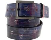 Skull Heartbeat Leather Belt, Mens Belt, Womens Belt, Skull Leather Belt, Leather Belts, Blue Leather Belt, Heartbeat Leather Belt