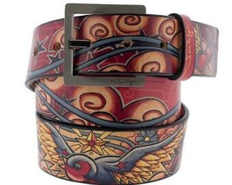 Sparrow Tattoo Leather Belt, Womens Belt, Mens Belt, Black Leather Belt, Handmade Leather Belt, Leather Belt, Bird Belt