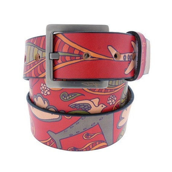 Happy Airplane Belt, Mens Belt, WOmens Belt, Leather Belt, Red Leather Belt, Leather Airplane Belt, Airplane Belt, Handmade Leather Belt,