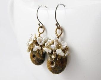 SALE - Ammonite Fossil, Keishi Pearl and Green Sapphire cluster Earrings - Branwyn