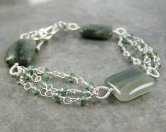 SALE - Green Needle Quartz and Green Quartz wire wrapped bracelet - Sage