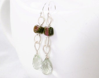 SALE - Watermelon Tourmaline and Prasiolite wire wrapped Earrings - Josette