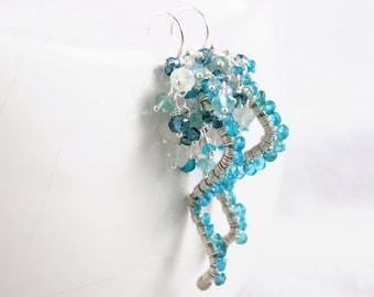 SALE - Apatite, London Blue Topaz and Moonstone Wire wrapped Earrings - Pluie d'été