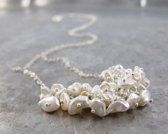 SALE - Keishi Pearl and Sterling Silver cluster Necklace  - Chantalle (perle)