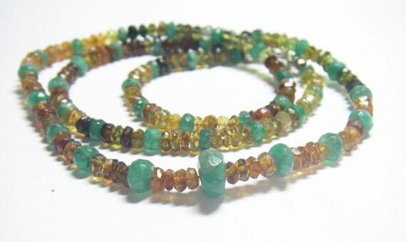 Gorgeous Emerald, Hessonite, Tsavorite Garnet, Silver Necklace