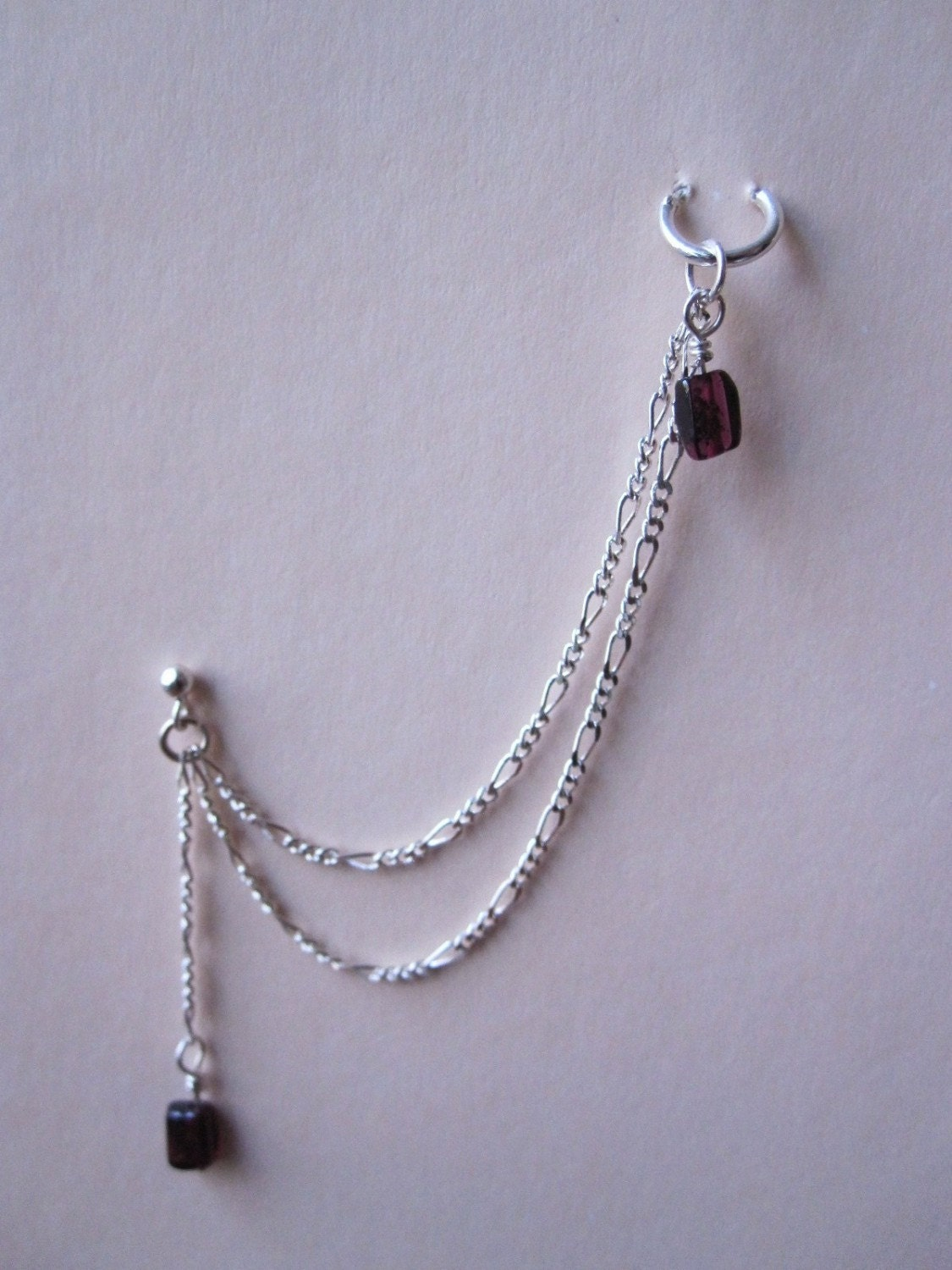 items similar to garnet cartilage chain earring on etsy
