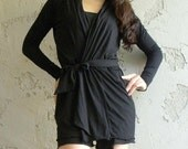 womens wrap cardigan in tencel and wool lightweight knit with belt - made to order