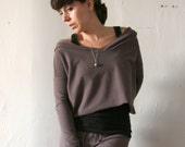 womens hooded sweat shirt in french terry with fitted sleeves and cropped body - made to order