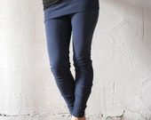 womens leggings in french terry with a fold over skirt - made to order