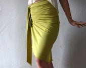 wrap skirt in organic cotton with ruching - made to order