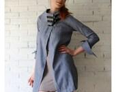 linen denim jacket with funnel neckline - made to order