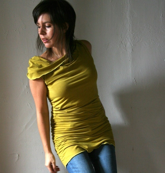 Sandmaiden organic cotton jersey blend sleeveless snail with asymmetrical neckline - made to order