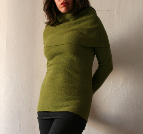 womens cowl neck sweater in felted fine merino wool knit - made to order - moss only- last one