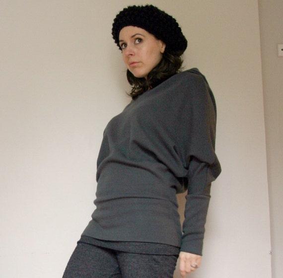 organic merino wool interlock hoody with dolman sleeves - ready to ship - size small
