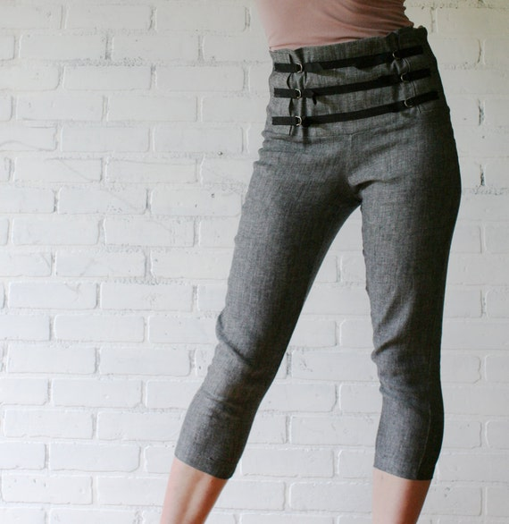 linen capri jeans with high waisted yoke - made to order