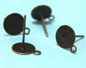 Ship from USA: 10 sets 8mm Flat Pad stickable nickel free Brass Base solid brass Earring Posts Studs with hanger loop
