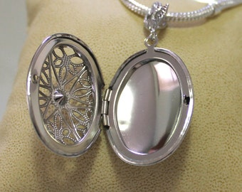 Ship from USA: Silver Locket Oval Filigree Charm Pendant with holder picture frame fits European snake chain