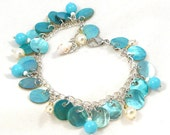 Dangly Turquoise Shell Bracelet Freshwater Pearls Sea Shells Beach Fashion Summer Jewelry