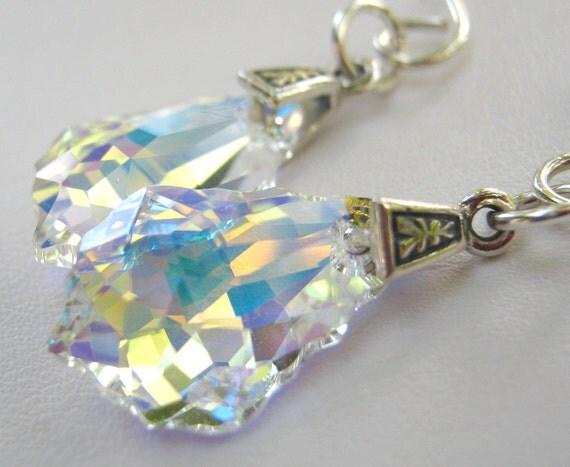 Swarovski Crystal Dangle Earrings AB Aurora Borealis Sterling Silver Fashion Jewelry
