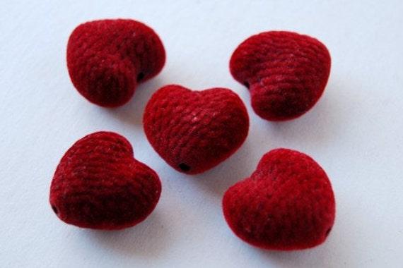 8 Large Deep Red Velvet Heart Beads