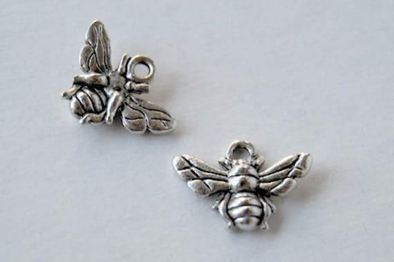 20 Silver Honey Bee Charms