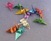 10 mini foil paper cranes