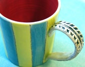 Striped Green, Blue and Red Stoneware Mug