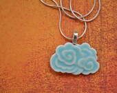 Dragon Cloud Porcelain Pendant Necklace glazed in soft aqua