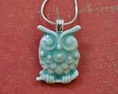 Owl Baby Necklace - porcelain owlet in soft celadon