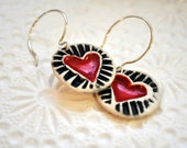 Sweet Hearts -Porcelain Heart Earrings in Black and White- hand-carved stamp design