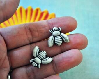 Honey Bee Post Earrings - porcelain earrings in black and white