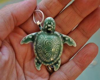 RESERVED for mmkeels1 - Porcelain Sea Turtle Necklace in deep green on sterling silver chain x3