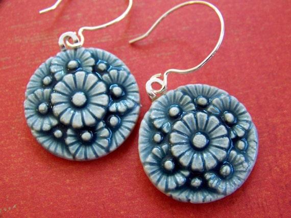 Garden Party Porcelain Earrings- delicate floral design in ocean blue