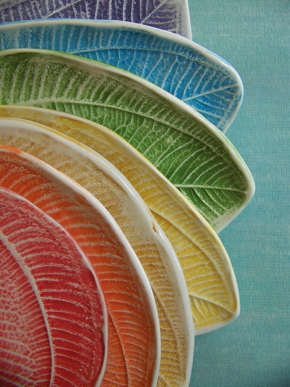 Leafy Tapas Plates or Trinket Dishes- set of 8- made to order