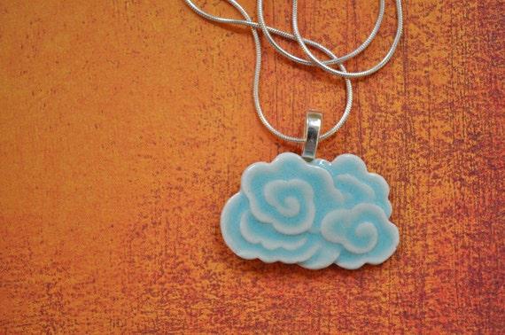 Dragon Cloud Porcelain Pendant Necklace glazed in soft aqua