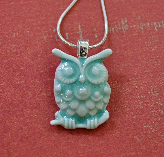 Owl Baby Necklace - porcelain owlet in soft celadon