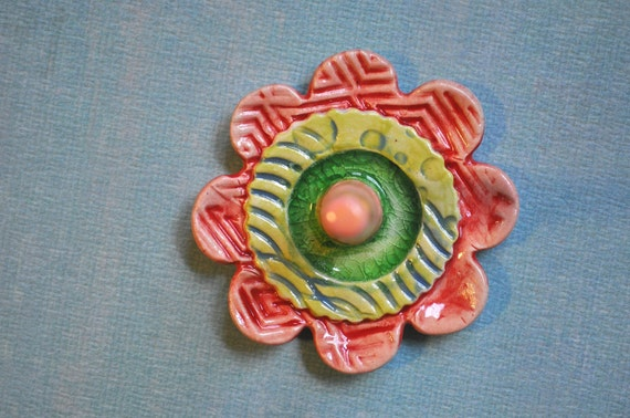 Ring Dish- Ring Blossom - pottery ring holder- Melon, Chartreuse, Salmon Pink with Melted Green Glass