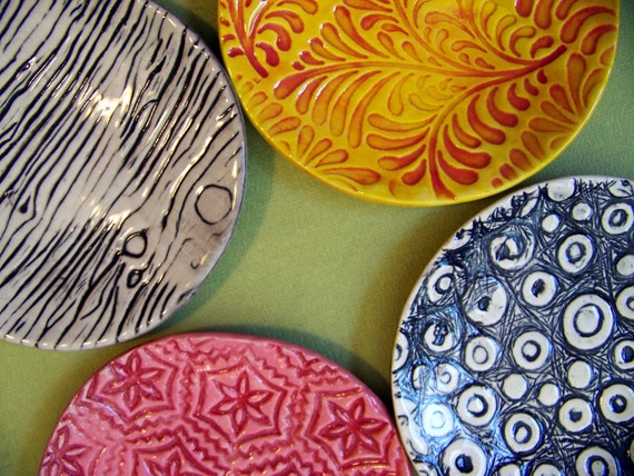 RESERVED for Elizabeth-- stoneware tidbit plate- pottery plate- bright colors