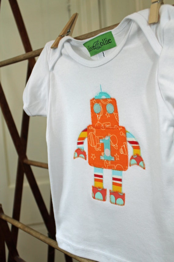 Custom Appliqued Boy's Robot Birthday Shirt in Orange and Aqua by Olive and Ollie