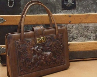 Marvelous Matador purse from Mexico - vintage 50s tooled leather hand bag