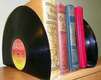 Record Album Bookends Vintage Book Ends Office or Retro Home Decor, Upcycled bookends made from records