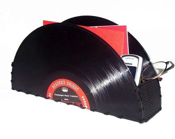 Vinyl Record Storage Container Office Accessories, Organizer, Vintage Home Decor, Music Lover Gift,