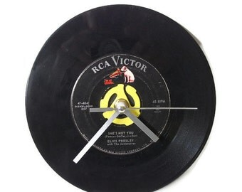 Elvis Presley Record Wall Clock, Vintage Desk Clock, Office Accessories, Home Decor, Music Lover Gift
