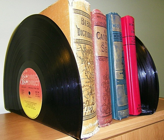 Retro bookends Recycled records Home office decor Record album decor Upcycled Bookends