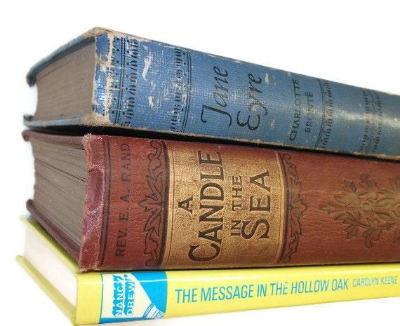 Upcycled Floating Bookshelf made from a book - Nancy Drew Hollow Oak Book Shelf