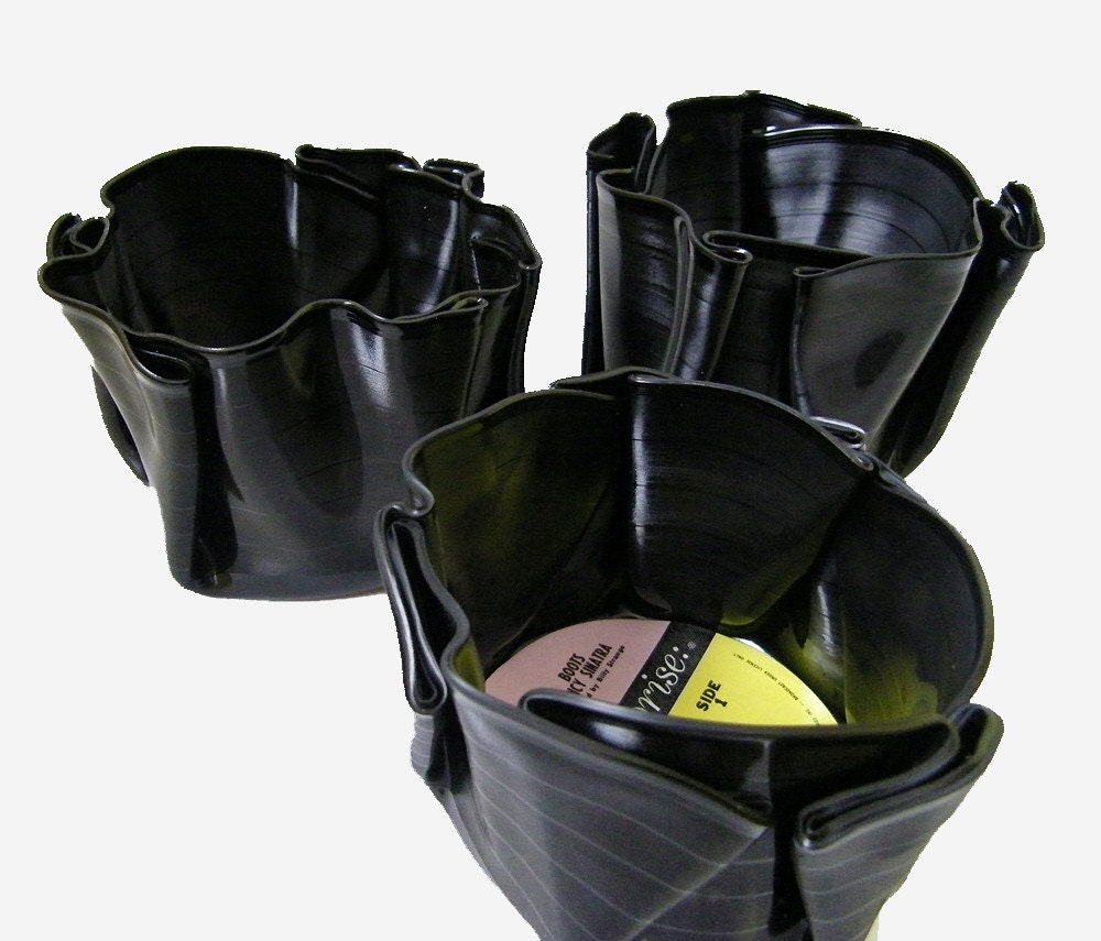 Recyled Vinyl Record Storage Container Vase Bowl