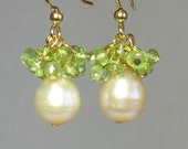 1/2 OFF SALE- Pink Pearl with Peridot Cluster Earrings