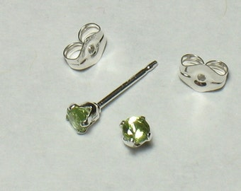 """3mm Faceted Natural Peridot Post Earrings in Sterling Silver (0.12"""") : August Birthstone / Small Stud Earring / Lime Green Gemstone / Simple"""